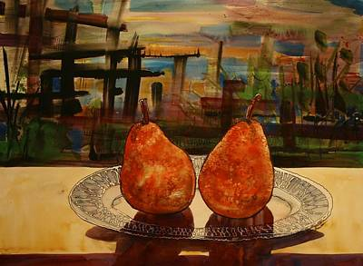 Pears On A Crystal Plate Poster by Shirley Sykes Bracken
