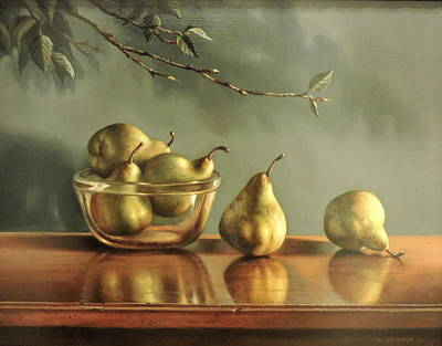 Poster featuring the painting Pears by William Albanese Sr