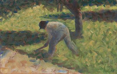 Peasant With A Hoe, C.1882 Oil On Wood By Georges Pierre Seurat Poster