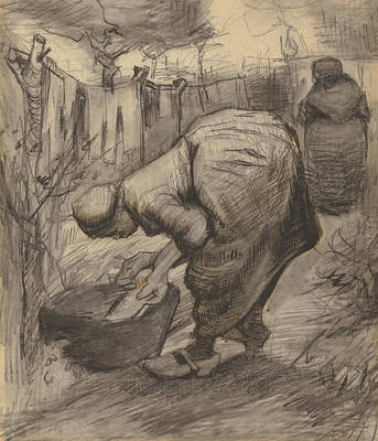 Peasant With Wash Basin In A Garden Poster by Vincent Van Gogh