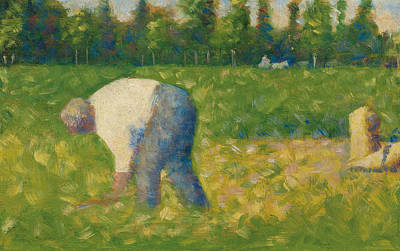 Peasant Working Poster by Georges Pierre Seurat