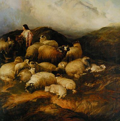 Peasants And Sheep Oil On Canvas Poster