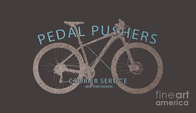 Pedal Pushers Courier Service Bike Tee Poster by Edward Fielding