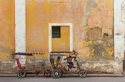 Poster featuring the photograph Pedicabs At Convento De Santa Clara Havana Cuba by Charles Harden