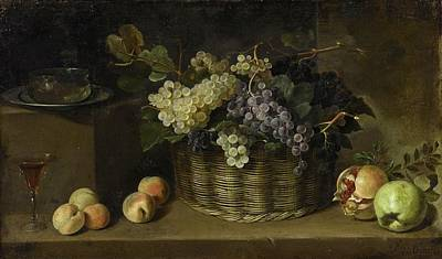 Pedro De Camprobin Y Passano Still Life With A Basket Of Grapes, Peaches, An Apple, A Pomegranate, A Poster by Pedro de