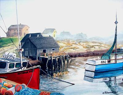 Poster featuring the painting Peggy's Cove Harbour by Patricia L Davidson