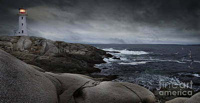 Peggys Cove Impending Storm Poster by Nancy Dempsey