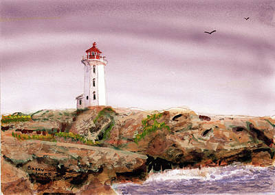 Poster featuring the painting Peggy's Cove Light House by Barry Jones
