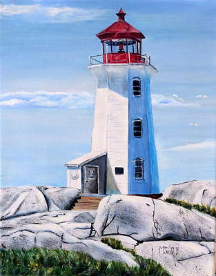 Poster featuring the painting Peggy's Cove Lighthouse by Marilyn  McNish