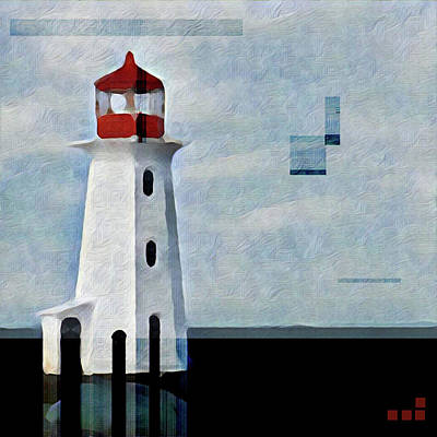 Peggys Cove Lighthouse Painterly Look Poster