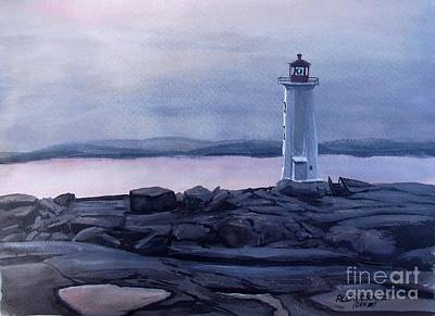Poster featuring the painting Peggy's Cove Lighthouse  by Patricia L Davidson