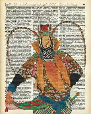 Pekin Opera Chinese Costume Over A Old Dictionary Page Poster