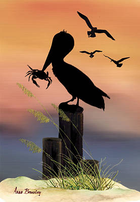 Pelican At Sunset Poster by Anne Beverley-Stamps