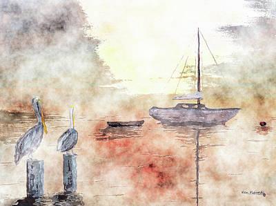 Pelican Bay Watercolor Poster by Ken Figurski