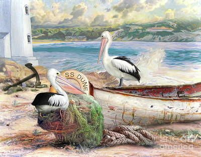 Poster featuring the digital art  Pelican Cove by Trudi Simmonds
