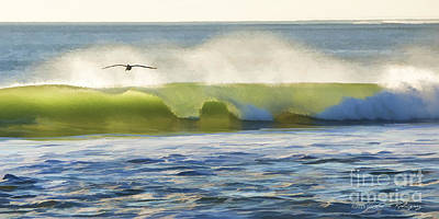Pelican Flying Over Wind Wave Poster by John A Rodriguez