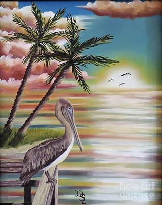 Poster featuring the painting Pelican Sunset by Dianna Lewis
