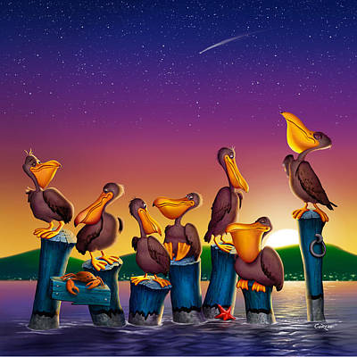 Pelican Sunset Whimsical Cartoon -  Square Format Poster by Walt Curlee