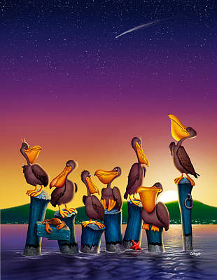 Pelican Sunset Whimsical Cartoon Tropical Birds Seascape - Vertical Poster by Walt Curlee