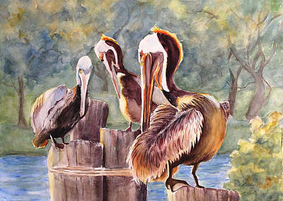 Pelican Town Meeting  Poster by Barbara Jung