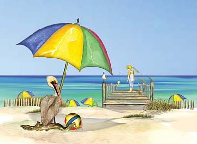 Pelican Under Umbrella Poster by Anne Beverley-Stamps
