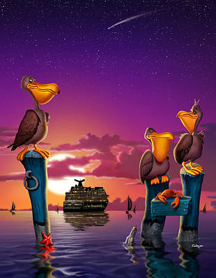 Pelicans On Poles At Sunset Tropical Cartoon Florida Seascape - Vertical Poster by Walt Curlee