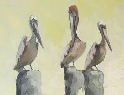 Pelicans Three Poster