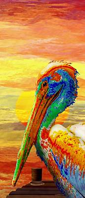 Pelicans Wharf Tequila Sunset Poster