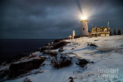 Pemaquid At Night In The Snow Poster by Benjamin Williamson