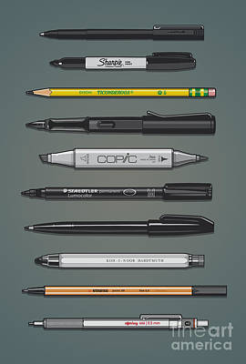 Pen Collection For Sketching And Drawing II Poster by Monkey Crisis On Mars