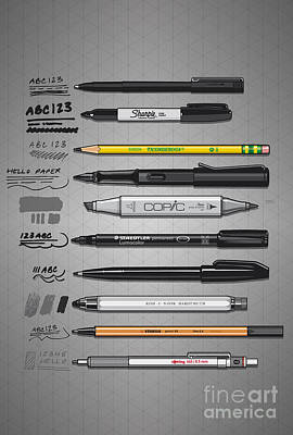 Pen Collection For Sketching And Drawing Poster