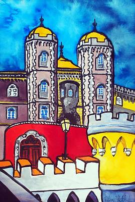 Poster featuring the painting Pena Palace In Sintra Portugal  by Dora Hathazi Mendes