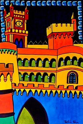Poster featuring the painting Pena Palace Portugal by Dora Hathazi Mendes