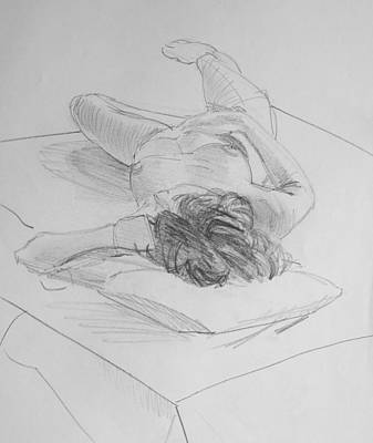 Pencil Female Nude Lying On Back  Poster