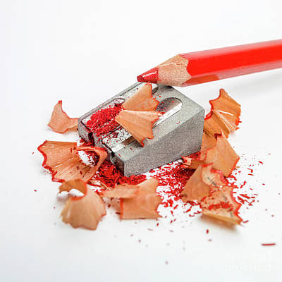 Pencil Sharpener And Red Colour Pencil. Poster