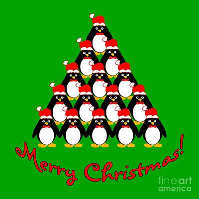 Penguin Christmas Tree Poster by Methune Hively
