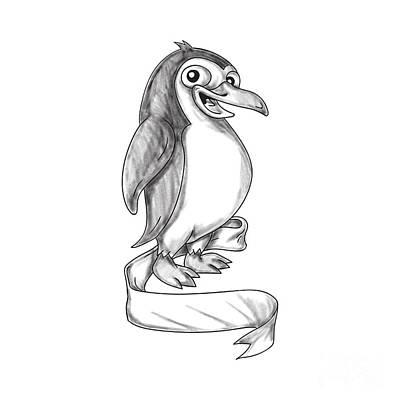 Penguin Ribbon Side Tattoo Poster by Aloysius Patrimonio