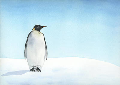 Poster featuring the painting Penguin Watercolor by Taylan Apukovska