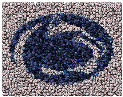 Penn State Bottle Cap Mosaic Poster by Paul Van Scott
