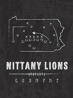Penn State Nittany Lions County Poster by Damon Gray
