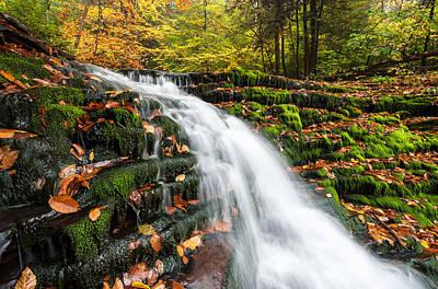 Pennsylvania Autumn Ricketts Glen State Park Waterfall Poster by Mark VanDyke