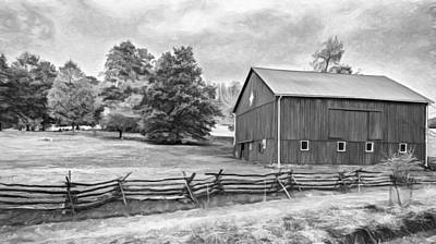 Pennsylvania Barn - Paint Bw Poster by Steve Harrington