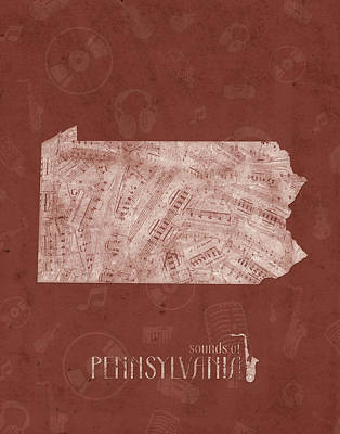 Pennsylvania Map Music Notes 4 Poster