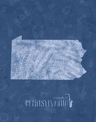 Pennsylvania Map Music Notes 5 Poster