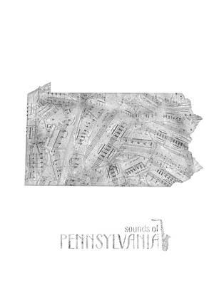 Pennsylvania Map Music Notes Poster