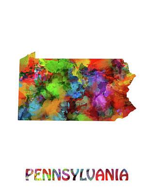 Pennsylvania Map Watercolor Poster