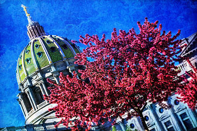 Poster featuring the photograph Pennsylvania State Capitol Dome In Bloom by Shelley Neff