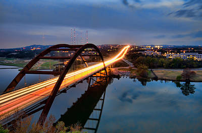 Pennybacker Bridge At Dusk Poster