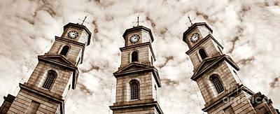 Penryn Clock Tower In Sepia Poster by Terri Waters