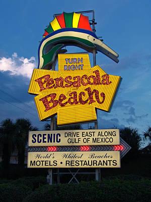 Pensacola Beach Sign At Sunset Poster by Jim Sweida